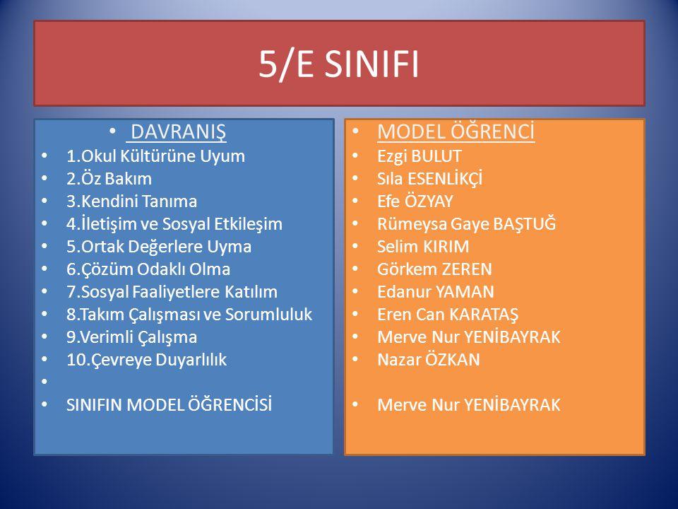 5/E SINIFI DAVRANIŞ MODEL ÖĞRENCİ 1.Okul Kültürüne Uyum 2.Öz Bakım