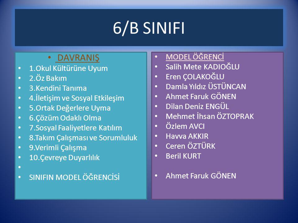 6/B SINIFI DAVRANIŞ MODEL ÖĞRENCİ 1.Okul Kültürüne Uyum