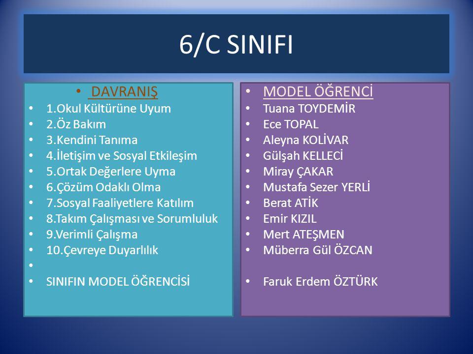 6/C SINIFI DAVRANIŞ MODEL ÖĞRENCİ 1.Okul Kültürüne Uyum 2.Öz Bakım