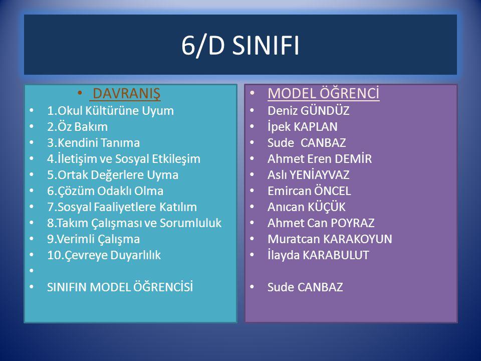 6/D SINIFI DAVRANIŞ MODEL ÖĞRENCİ 1.Okul Kültürüne Uyum 2.Öz Bakım