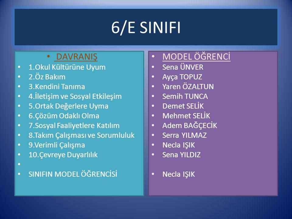 6/E SINIFI DAVRANIŞ MODEL ÖĞRENCİ 1.Okul Kültürüne Uyum 2.Öz Bakım