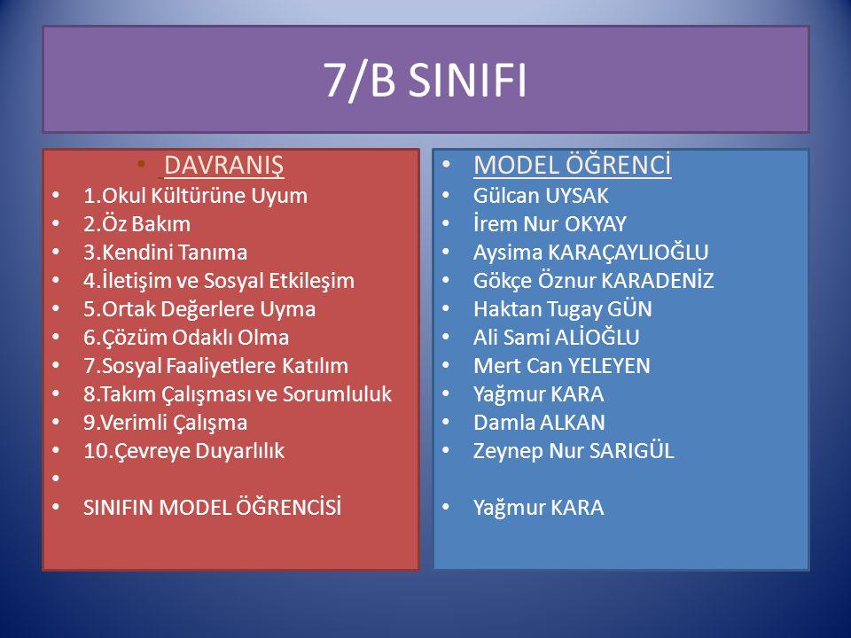 7/B SINIFI DAVRANIŞ MODEL ÖĞRENCİ 1.Okul Kültürüne Uyum 2.Öz Bakım