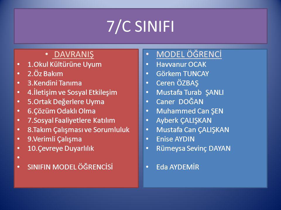 7/C SINIFI DAVRANIŞ MODEL ÖĞRENCİ 1.Okul Kültürüne Uyum 2.Öz Bakım
