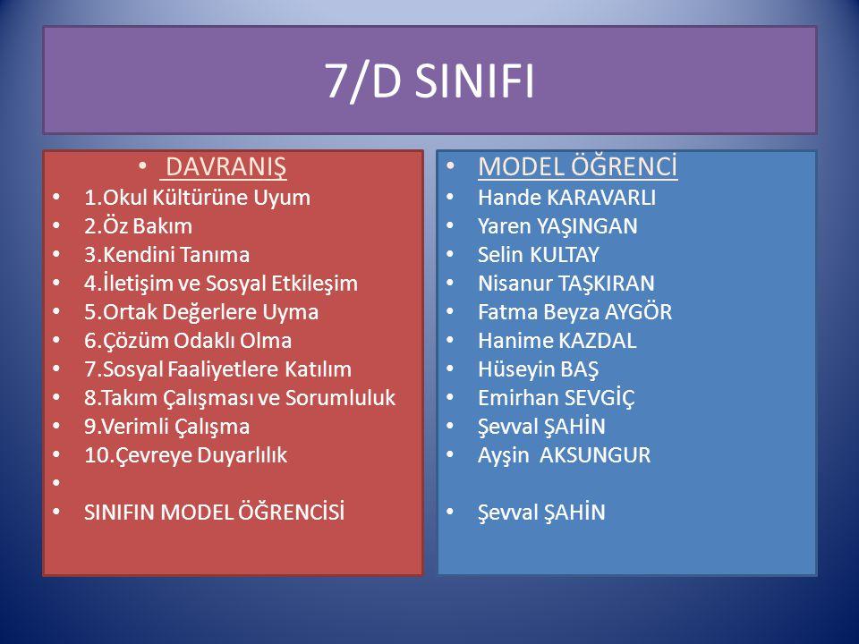 7/D SINIFI DAVRANIŞ MODEL ÖĞRENCİ 1.Okul Kültürüne Uyum 2.Öz Bakım