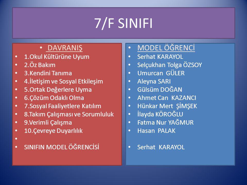 7/F SINIFI DAVRANIŞ MODEL ÖĞRENCİ 1.Okul Kültürüne Uyum 2.Öz Bakım