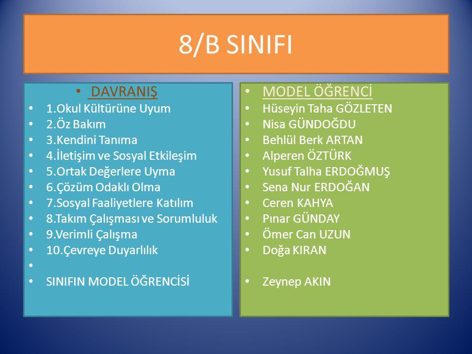 8/B SINIFI DAVRANIŞ MODEL ÖĞRENCİ 1.Okul Kültürüne Uyum 2.Öz Bakım