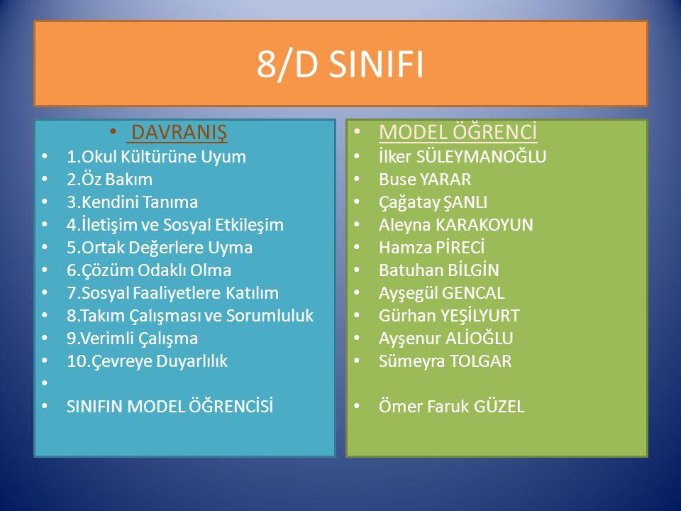 8/D SINIFI DAVRANIŞ MODEL ÖĞRENCİ 1.Okul Kültürüne Uyum 2.Öz Bakım