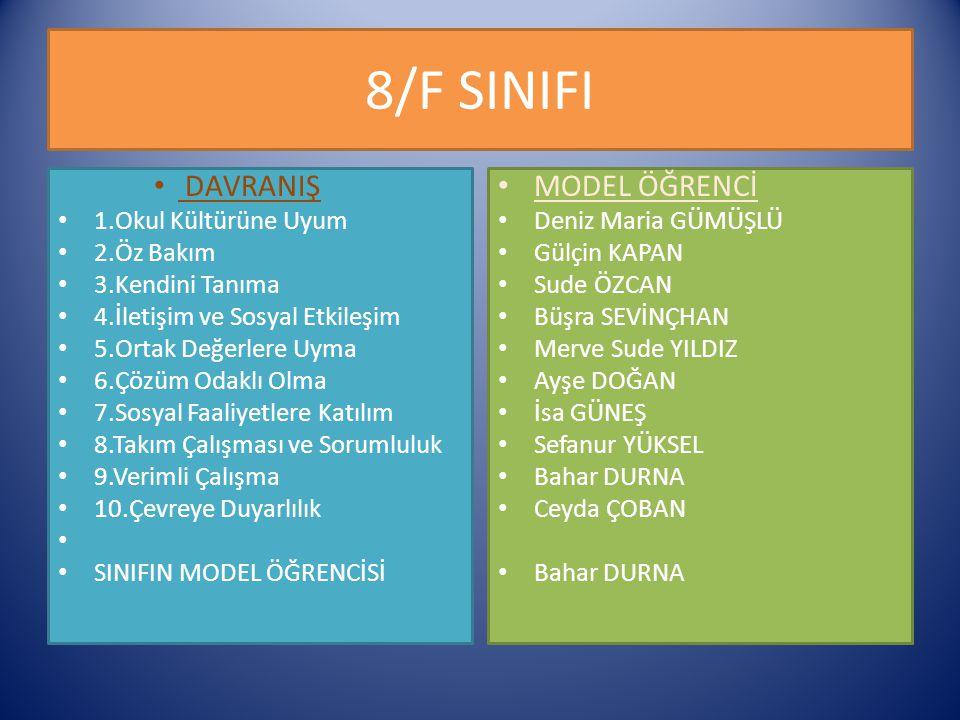 8/F SINIFI DAVRANIŞ MODEL ÖĞRENCİ 1.Okul Kültürüne Uyum 2.Öz Bakım