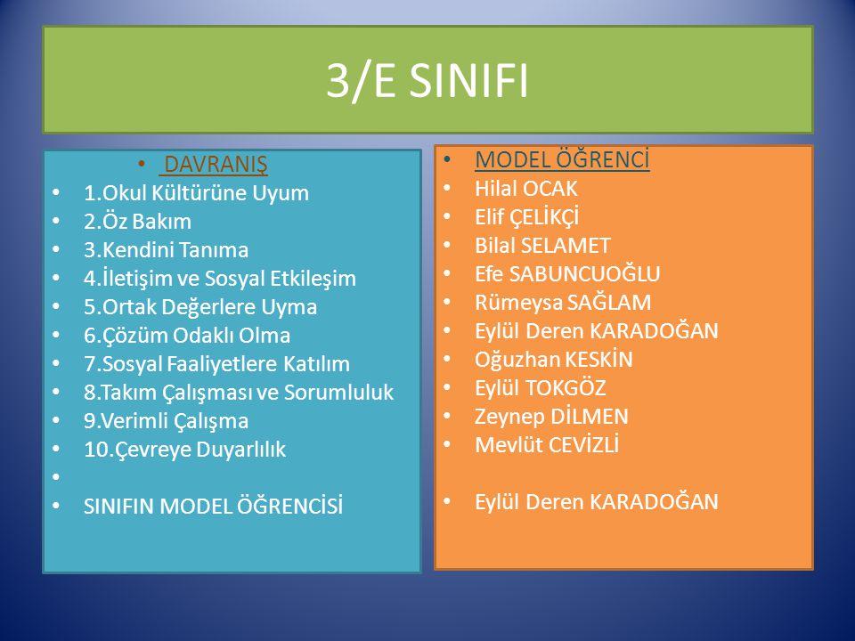 3/E SINIFI MODEL ÖĞRENCİ DAVRANIŞ Hilal OCAK 1.Okul Kültürüne Uyum