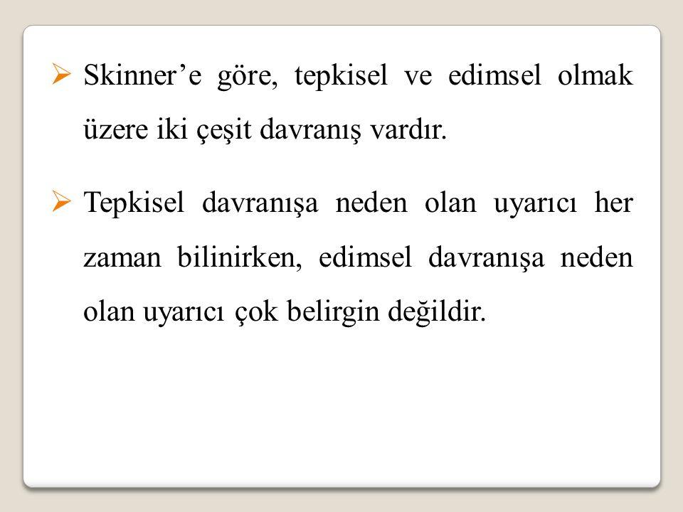 Skinner'e göre, tepkisel ve edimsel olmak üzere iki çeşit davranış vardır.