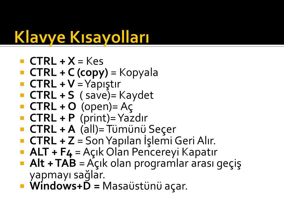 Klavye Kısayolları CTRL + X = Kes CTRL + C (copy) = Kopyala
