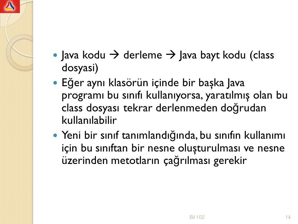 Java kodu  derleme  Java bayt kodu (class dosyasi)