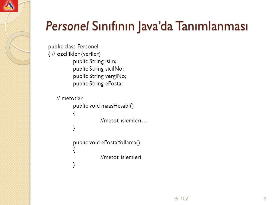 Personel Sınıfının Java'da Tanımlanması