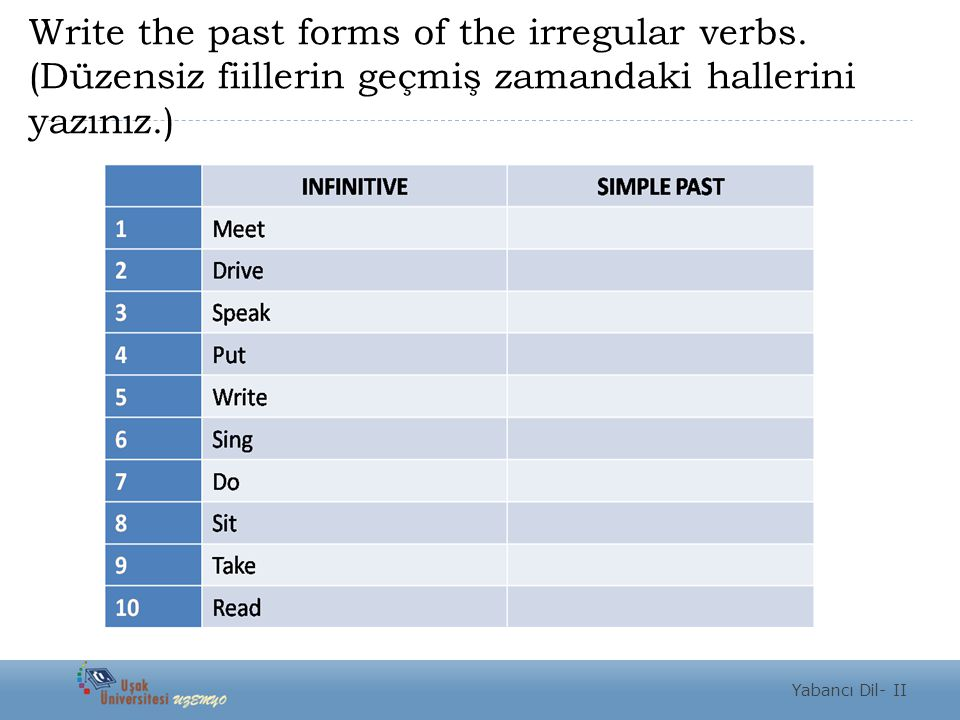 Write the past forms of the irregular verbs