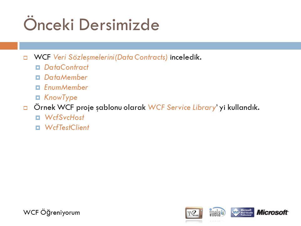 Önceki Dersimizde WCF Veri Sözleşmelerini(Data Contracts) inceledik.