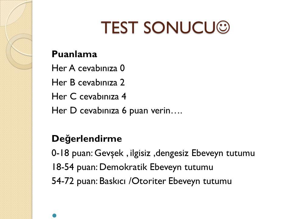 TEST SONUCU Puanlama Her A cevabınıza 0 Her B cevabınıza 2