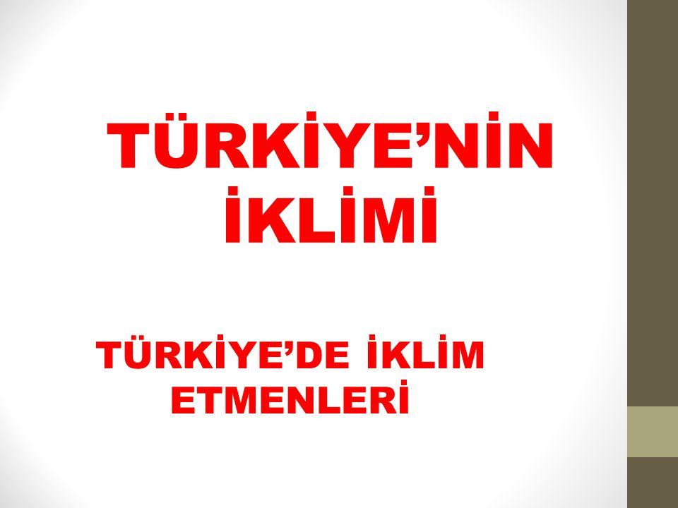 TÜRKİYE'DE İKLİM ETMENLERİ