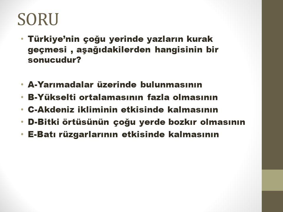 SORU Türkiye'nin çoğu yerinde yazların kurak geçmesi , aşağıdakilerden hangisinin bir sonucudur A-Yarımadalar üzerinde bulunmasının.
