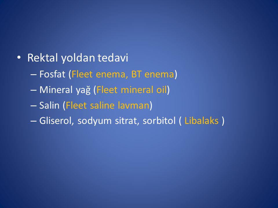Rektal yoldan tedavi Fosfat (Fleet enema, BT enema)