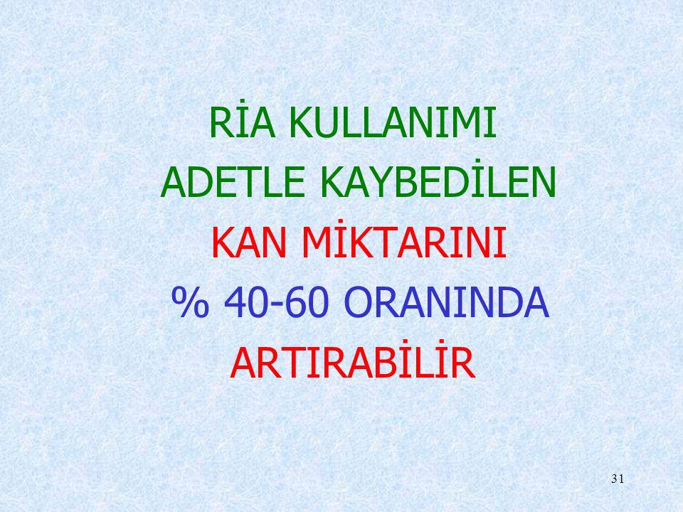 RİA KULLANIMI ADETLE KAYBEDİLEN KAN MİKTARINI % 40-60 ORANINDA ARTIRABİLİR