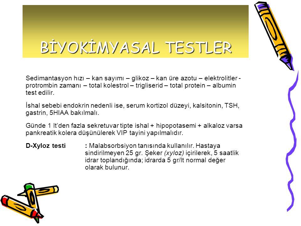 BİYOKİMYASAL TESTLER