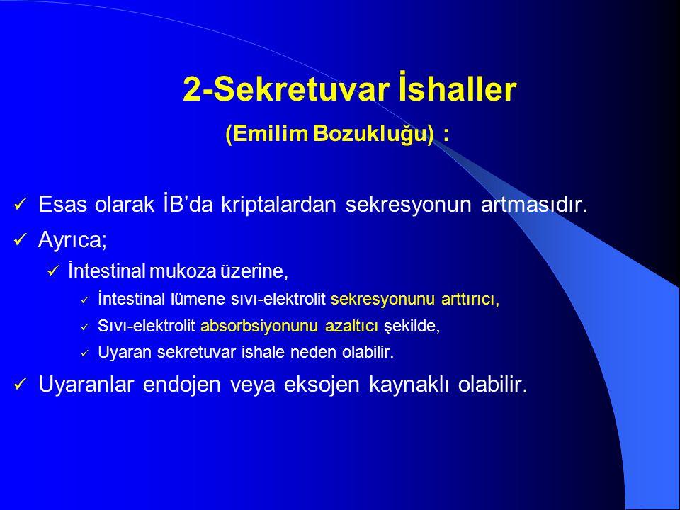 2-Sekretuvar İshaller (Emilim Bozukluğu) :