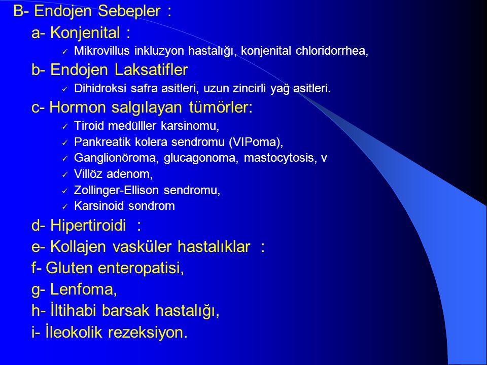 b- Endojen Laksatifler : c- Hormon salgılayan tümörler: