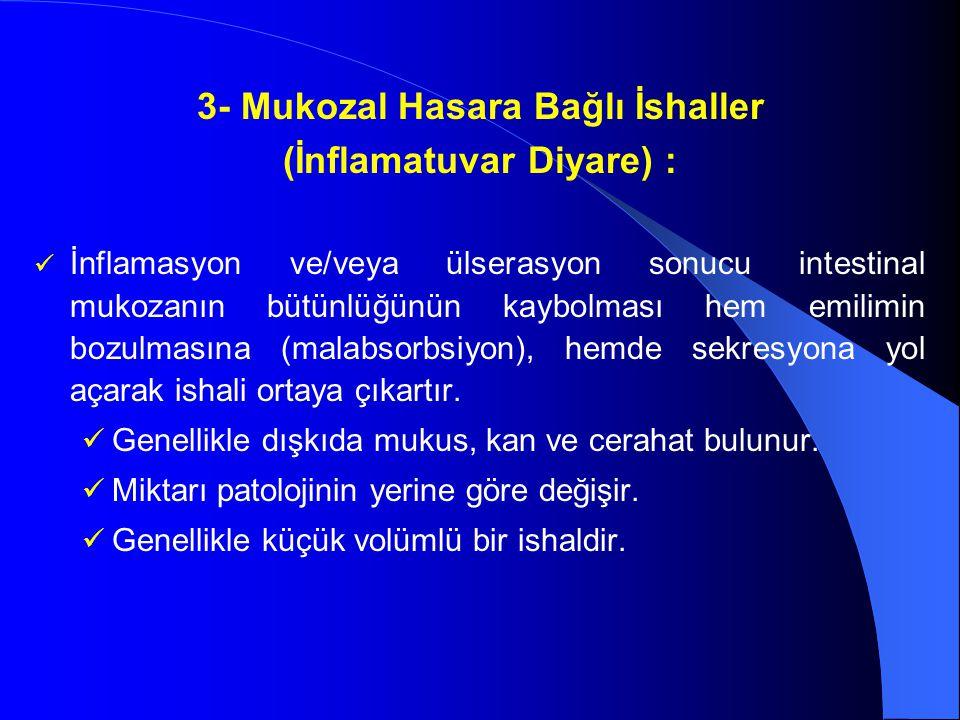 3- Mukozal Hasara Bağlı İshaller (İnflamatuvar Diyare) :