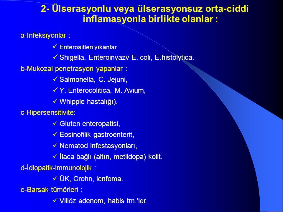 2- Ülserasyonlu veya ülserasyonsuz orta-ciddi inflamasyonla birlikte olanlar :