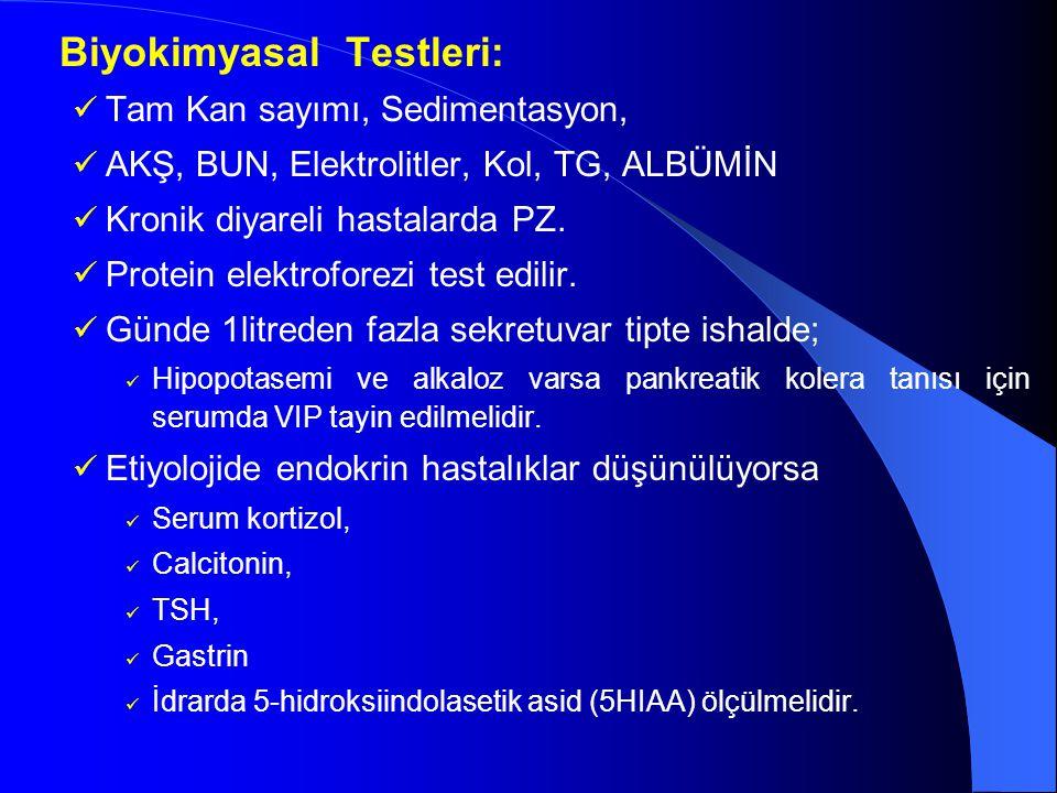 Biyokimyasal Testleri: