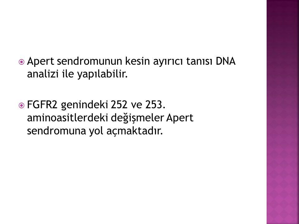 Apert sendromunun kesin ayırıcı tanısı DNA analizi ile yapılabilir.