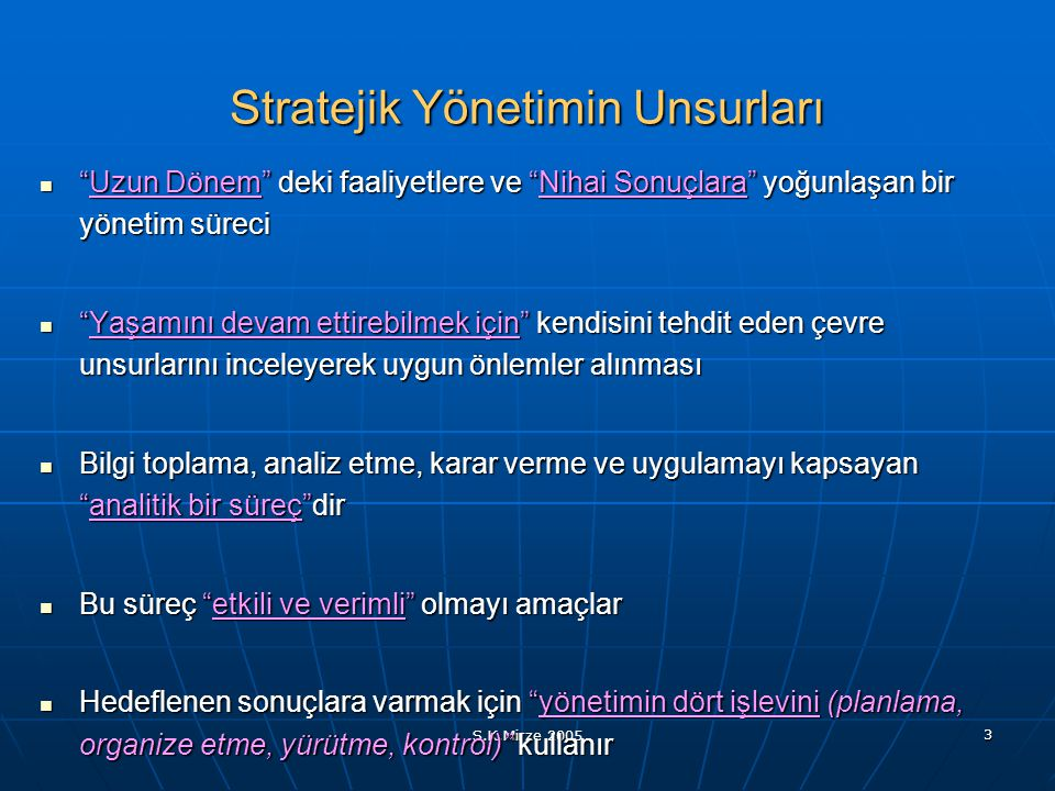 Stratejik Yönetimin Unsurları