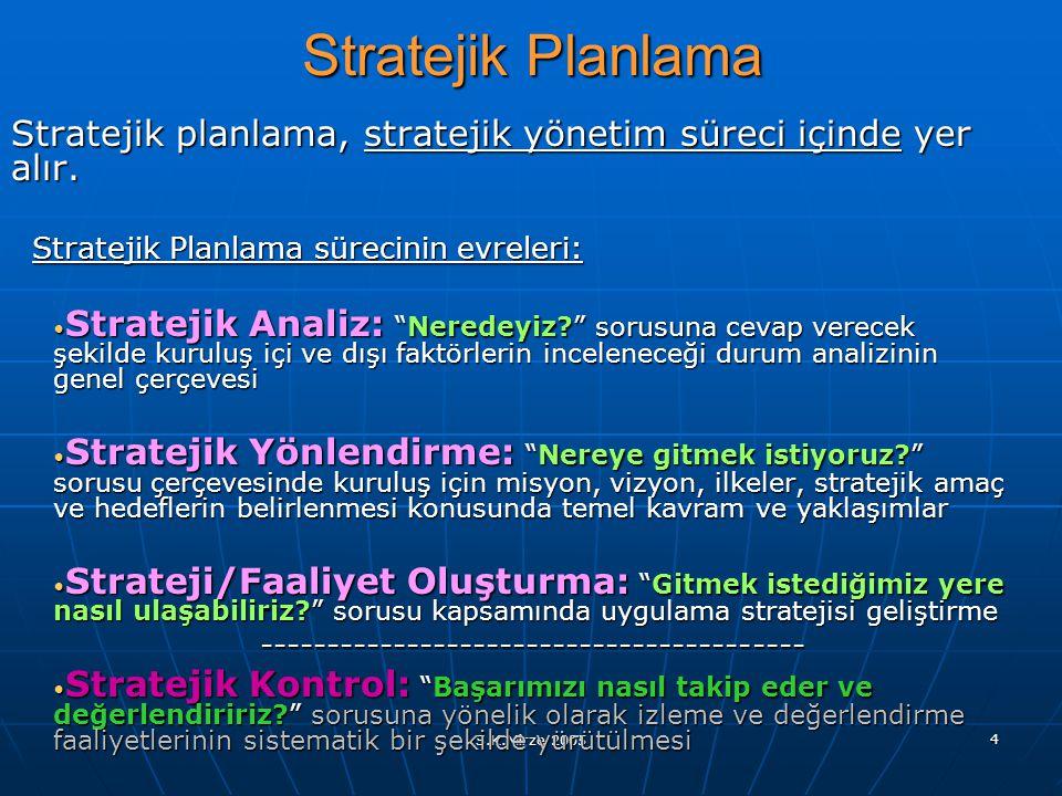 Stratejik Planlama Stratejik planlama, stratejik yönetim süreci içinde yer alır. Stratejik Planlama sürecinin evreleri: