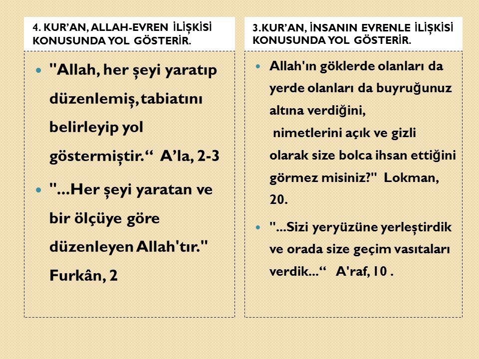 4. KUR'AN, ALLAH-EVREN İLİŞKİSİ