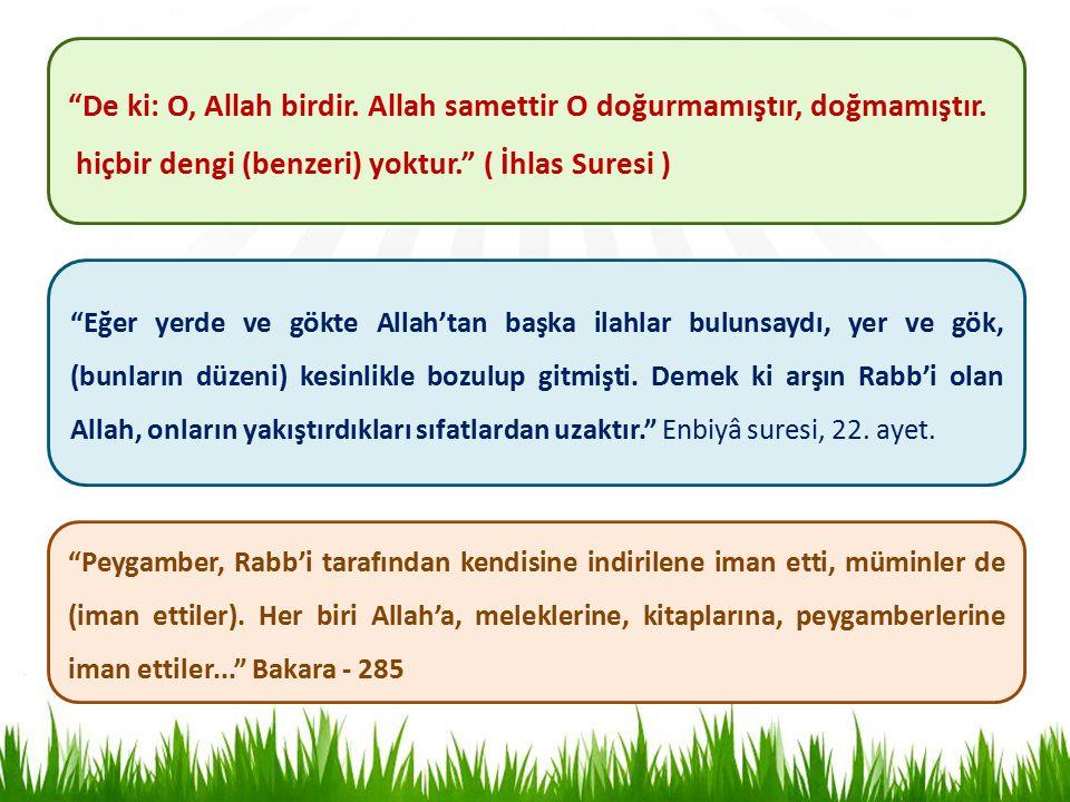 De ki: O, Allah birdir. Allah samettir O doğurmamıştır, doğmamıştır.