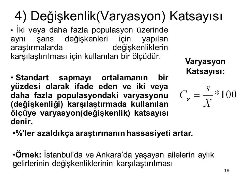 4) Değişkenlik(Varyasyon) Katsayısı