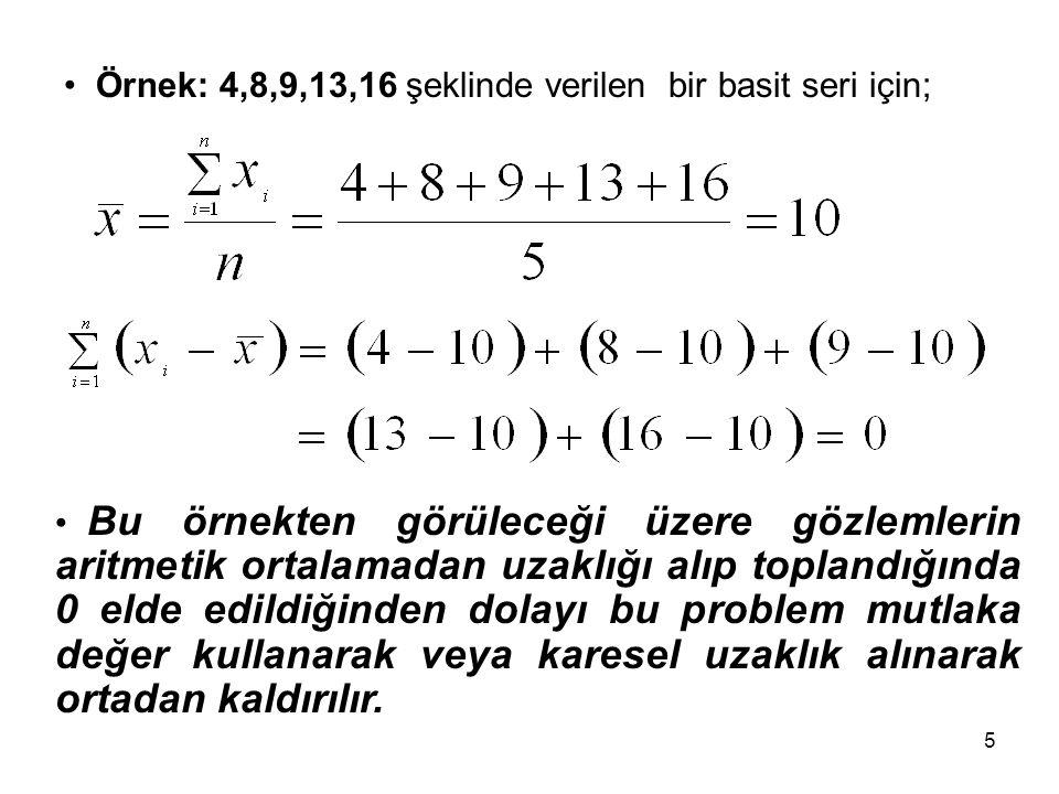 Örnek: 4,8,9,13,16 şeklinde verilen bir basit seri için;