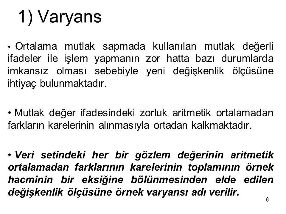 1) Varyans