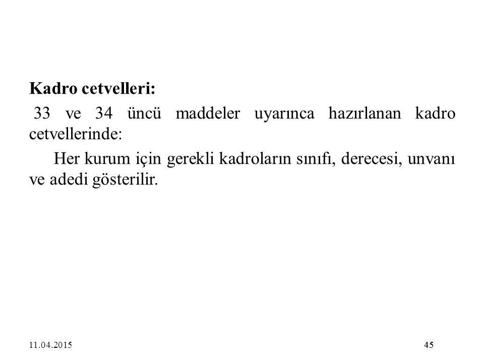 33 ve 34 üncü maddeler uyarınca hazırlanan kadro cetvellerinde:
