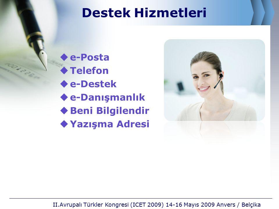 Destek Hizmetleri e-Posta Telefon e-Destek e-Danışmanlık