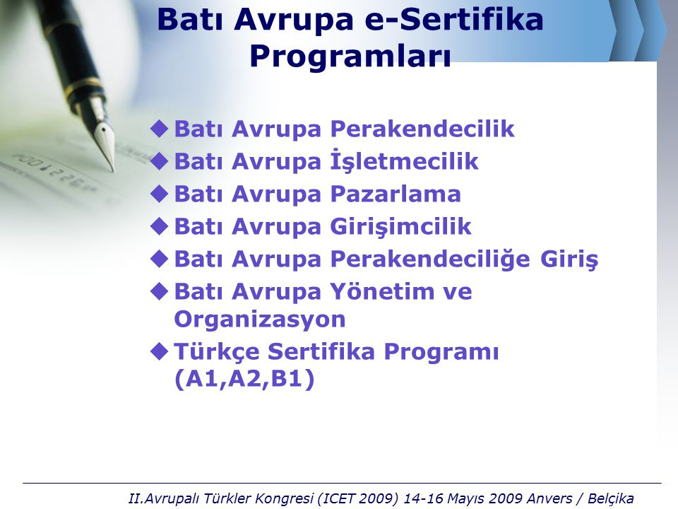 Batı Avrupa e-Sertifika Programları