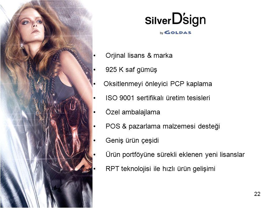 Orjinal lisans & marka 925 K saf gümüş. Oksitlenmeyi önleyici PCP kaplama. ISO 9001 sertifikalı üretim tesisleri.