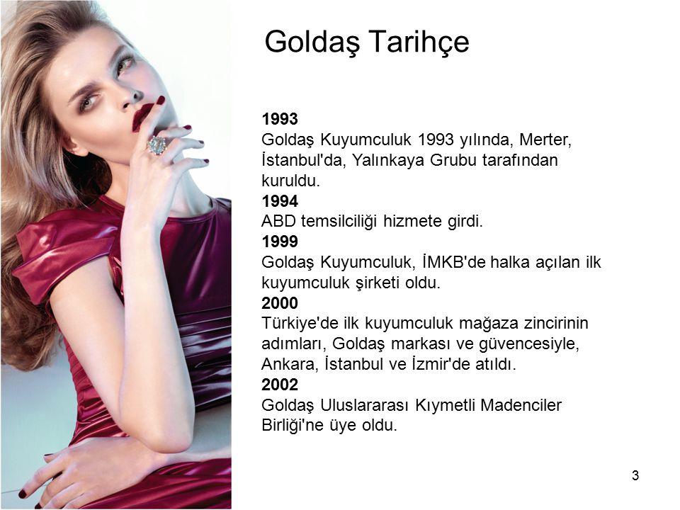 Goldaş Tarihçe 1993. Goldaş Kuyumculuk 1993 yılında, Merter, İstanbul da, Yalınkaya Grubu tarafından kuruldu.