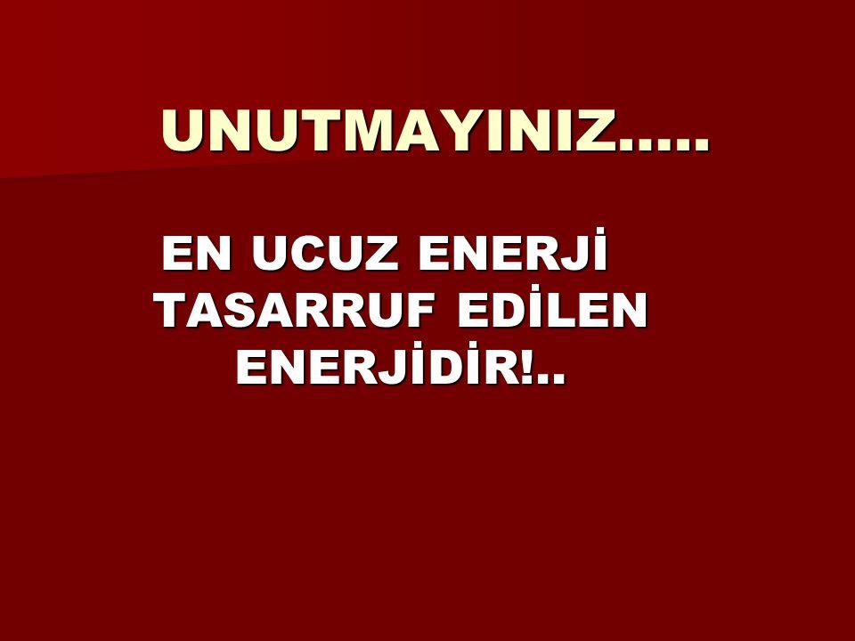 EN UCUZ ENERJİ TASARRUF EDİLEN ENERJİDİR!..