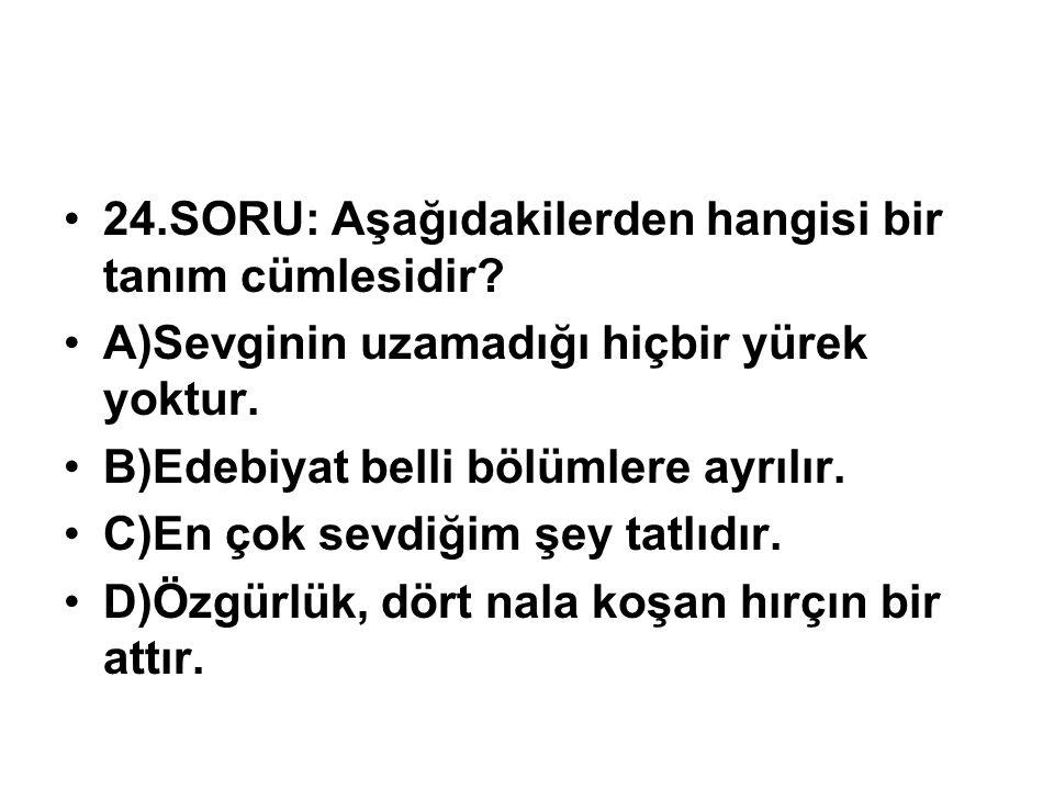 24.SORU: Aşağıdakilerden hangisi bir tanım cümlesidir