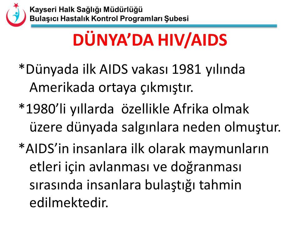 DÜNYA'DA HIV/AIDS *Dünyada ilk AIDS vakası 1981 yılında Amerikada ortaya çıkmıştır.