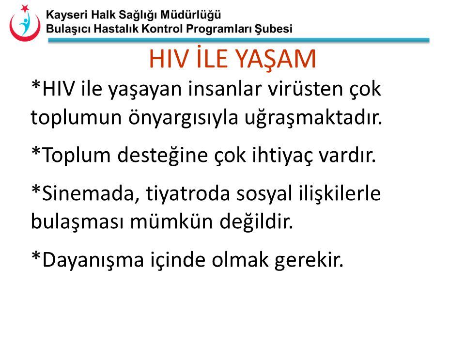 HIV İLE YAŞAM *HIV ile yaşayan insanlar virüsten çok toplumun önyargısıyla uğraşmaktadır. *Toplum desteğine çok ihtiyaç vardır.