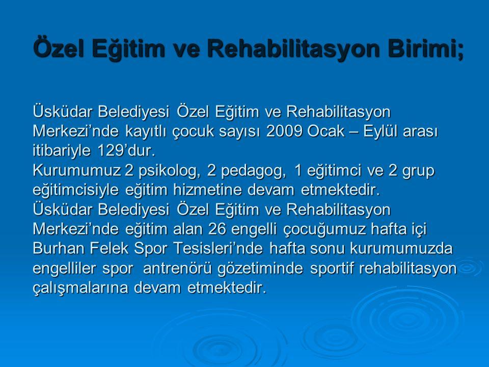 Özel Eğitim ve Rehabilitasyon Birimi; Üsküdar Belediyesi Özel Eğitim ve Rehabilitasyon Merkezi'nde kayıtlı çocuk sayısı 2009 Ocak – Eylül arası itibariyle 129'dur.