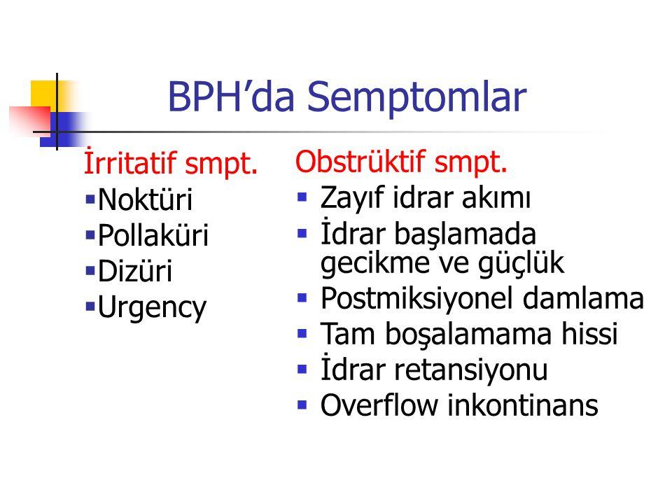 BPH'da Semptomlar İrritatif smpt. Obstrüktif smpt. Noktüri