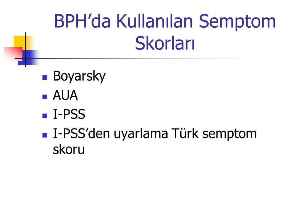 BPH'da Kullanılan Semptom Skorları